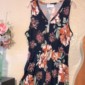 French Grey A-line Floral Dress, Blue/Coral XL